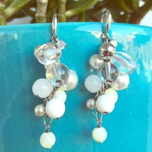 Fossil Rhinestone White & Clear Beaded Ear…